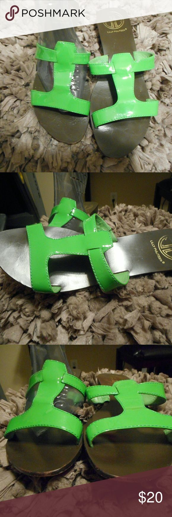 FUC! Vintage Lilly Pulitzer Green Sandals Sz. 6/7 FUC! Vintage Lilly Pulitzer Green Sandals Sz. 6/7 Very used but these sandals still have tons of life in them.  These did not have a size but we're measured to be a 6/7.  Leather Lilly Pulitzer Shoes Sandals
