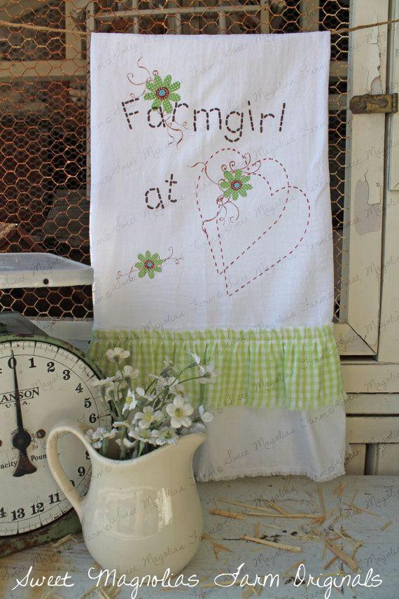 Flour Sack Kitchen Towel... Farmhouse by SweetMagnoliasFarm, $18.50