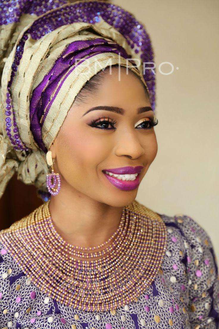 BankeMeshidaLawal purple gold Nigerian wedding bride gele sequin