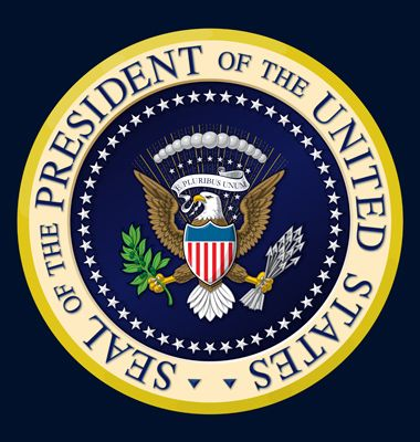 Highly detailed, colored vector illustration of the official Seal of the President of the United States. Two layers of Shading for depth