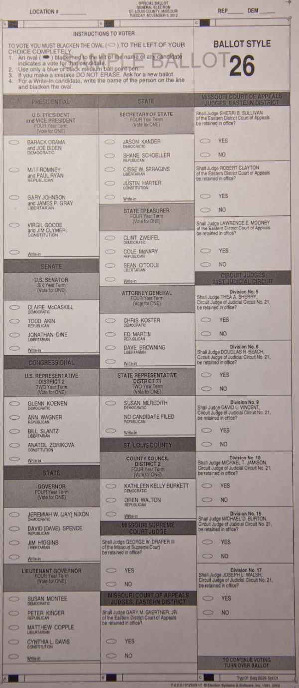 Pg. 1 - SAMPLE BALLOT, St. Louis County #MO #63146 November 6, 2012 #election2012 #STLelection  #Obama2012
