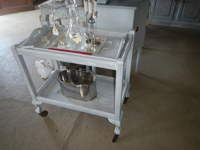 vintage Techniqued tea trolley R1900