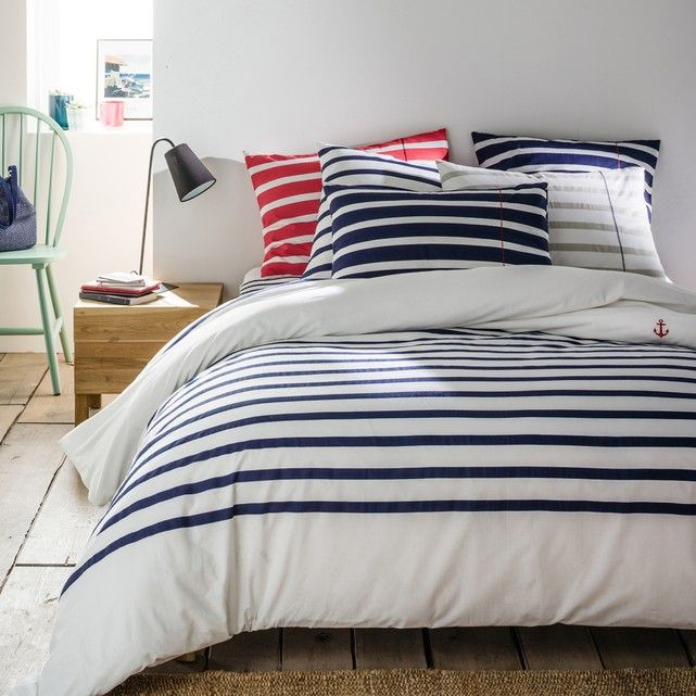 Malô duvet cover. Nautical styling for the bedroom!Malô duvet cover. Nautical styling for the bedroom! Malô duvet cover:Sailor stripes print, Embroidered navy anchor motif on the front.Bottle shape.Malô duvet cover:Washable at 60°.The higher the thread count, the higher the quality of the weave.Matching pillowcase and fitted sheets available.Care instructions:Non-iron - Can be tumble-dried at low temperature.Wash inside out to help prevent the colours from fading.Hang up as soon as possible…