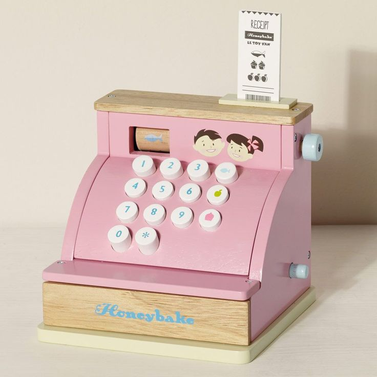A sweet toy cash till, made from sturdy wood; it's the perfect match for our Pink Play Shop & Theatre!
