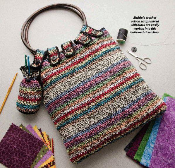 X112 Crochet PATTERN ONLY Scraps Bag Purse Tote Pattern. $4.95, via Etsy.