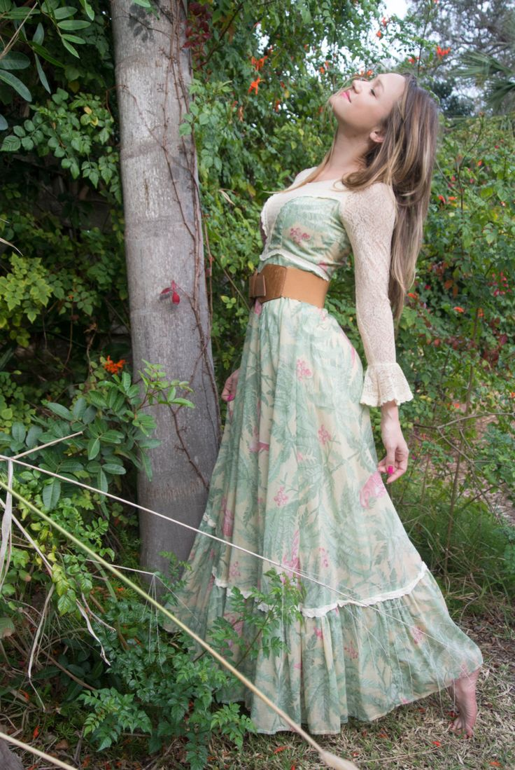 Vintage Gunne Sax  maxi prairie dress. Gunne Sax was the LOOK of the 70s, with Renaissance dresses, and Prairie Dress's.  (170.00, via Etsy.)