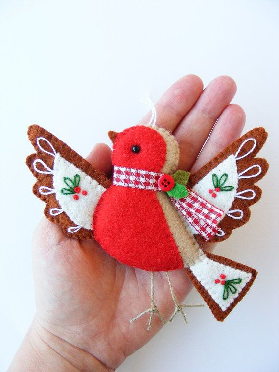 PDF pattern - Cute Christmas Robin - DIY embroidered Christmas tree ornament…