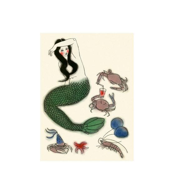 Mermaid Art  Party Central  4 X 6 print by matouenpeluche on Etsy, $7.00