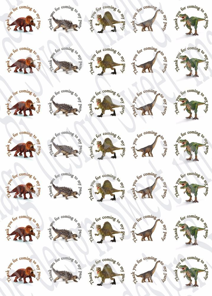 Dinosaur inspired ~ Labels ~ Stickers ~Party~ sweet cone bags ~ T-Rex    eBay