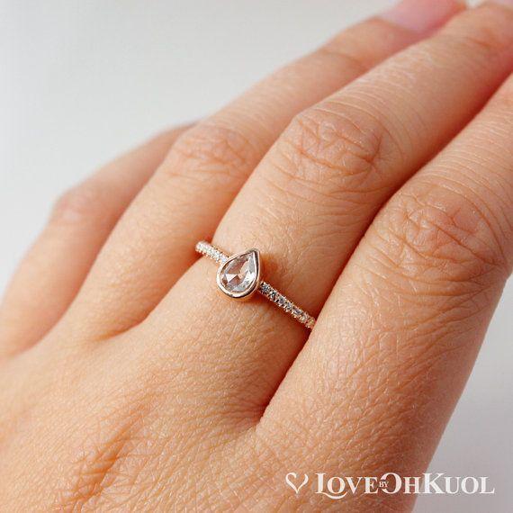 ON SALE Rose Cut Pear Shape Diamond Ring Half by lovebyohkuol