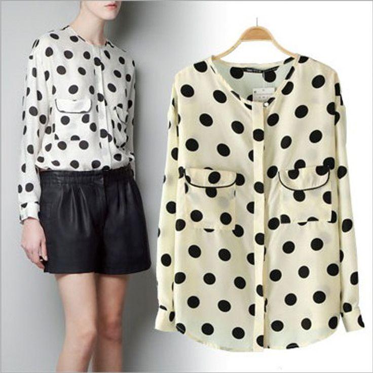 2013 damas casual blusa de gasa para las mujeres deimpresión polka dot de verano de moda blusas 0327c