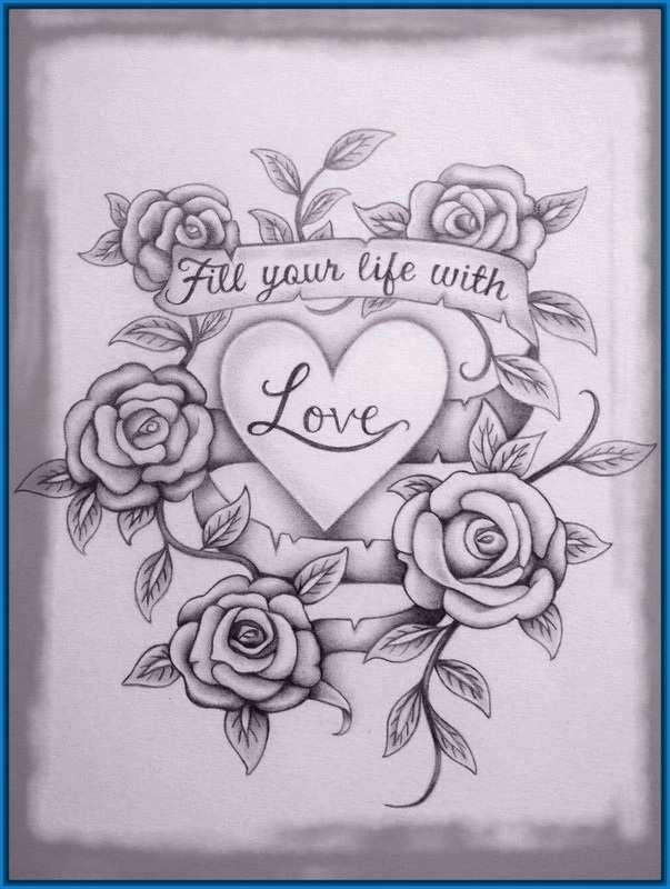 Dibujos De Rosas Y Corazones Dibujos De Corazones A Lapiz En 3d