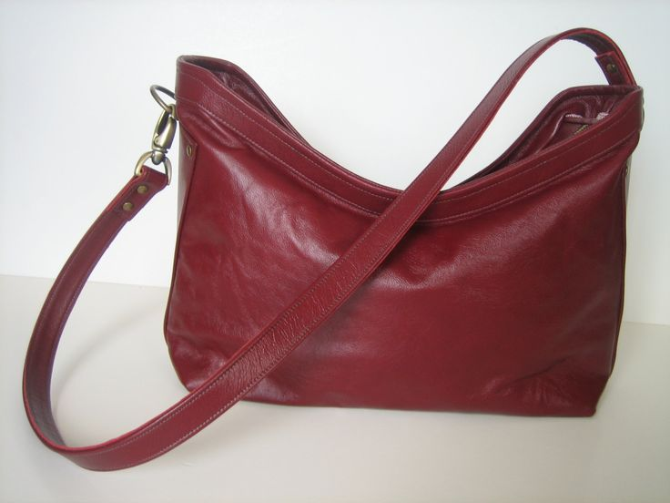 Burgundy Leather 2-way Crossbody or Shoulder Bag by whym on Etsy