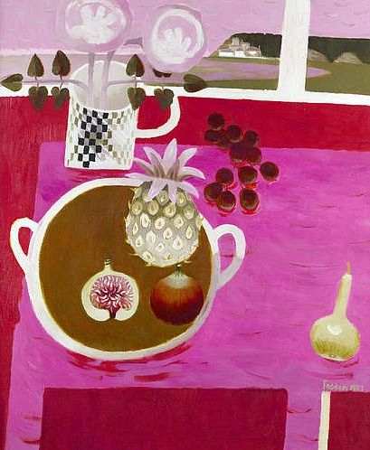 Mary Fedden Still Life with Pineapple and Figs 1987 - oil on canvas http://m.bonhams.com/auctions/19780/lot/106/