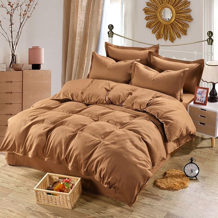 Cheap bed set, Buy Quality king size directly from China bedding set Suppliers: Home Textile coffee bedding set 100% Microfiber duvet cover 4pcs bed set solid twin full queen king size bedclothes Adult sheet