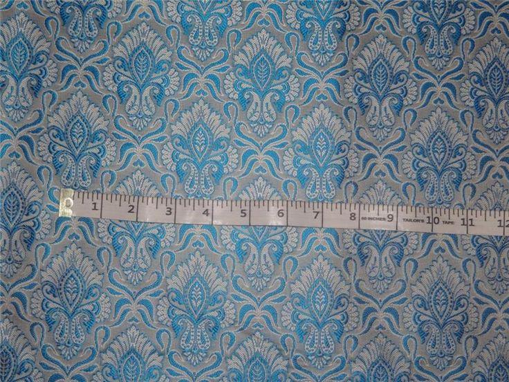 "Brocade fabric Blue X Silver Color 44"""