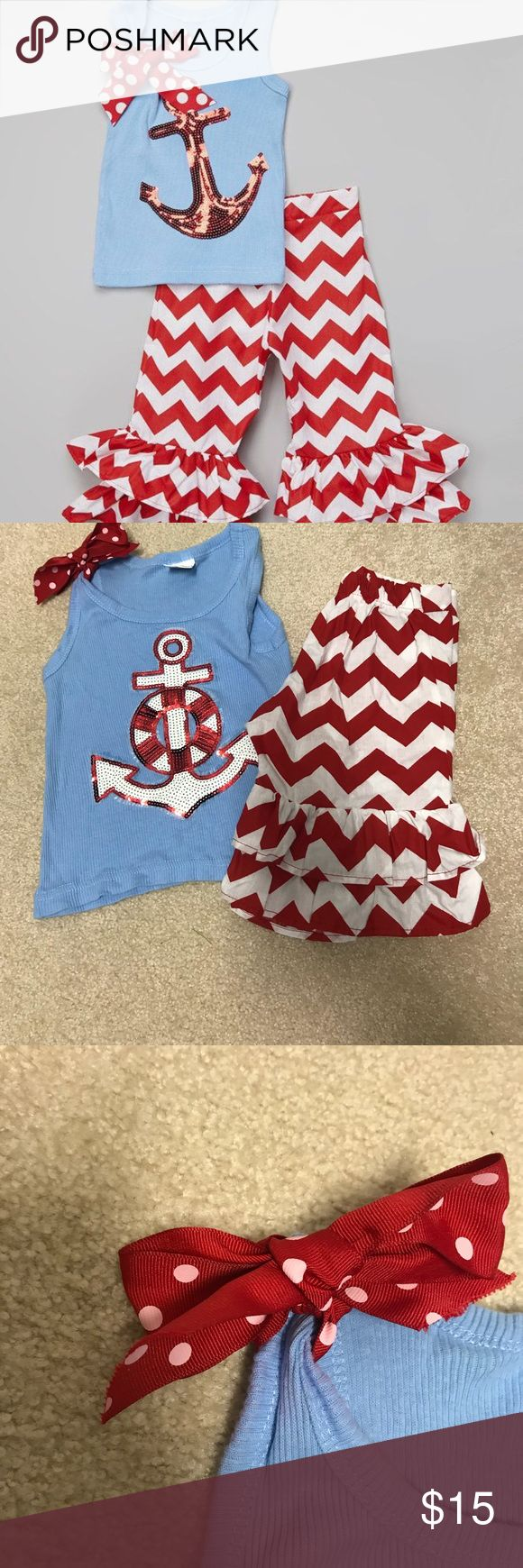 Girls Anchor Outfit *see real photos for Anchor, stock photo slightly different* Gently used Only worn twice Matching Sets