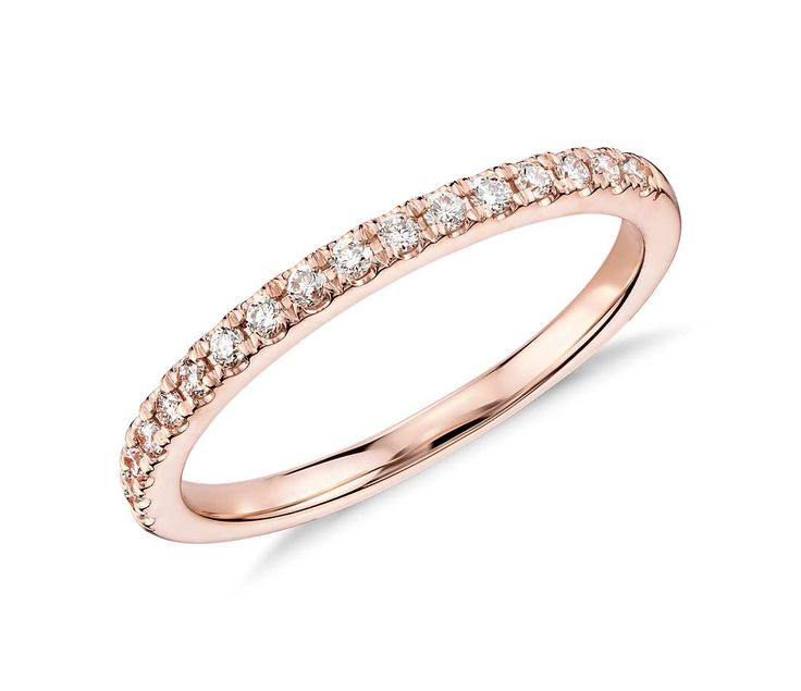 Accentuate the occasion with this inspiring diamond ring, showcasing a row of exquisite pavé-set diamonds in romantic 18k rose gold.