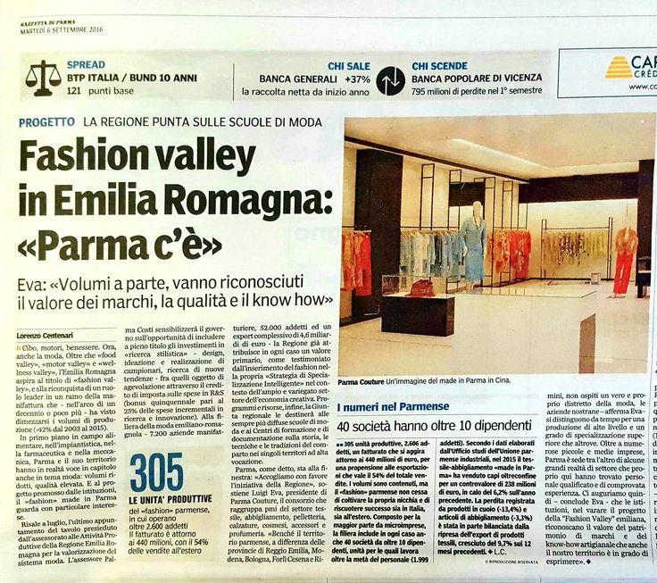 #Fashion #Valley in Regione Emilia-Romagna: #Parma c'è grazie a valore dei #marchi, #qualità e #knowhow. Parma Couture sulla Gazzetta di Parma di oggi: grazie a Lorenzo #Centenari!