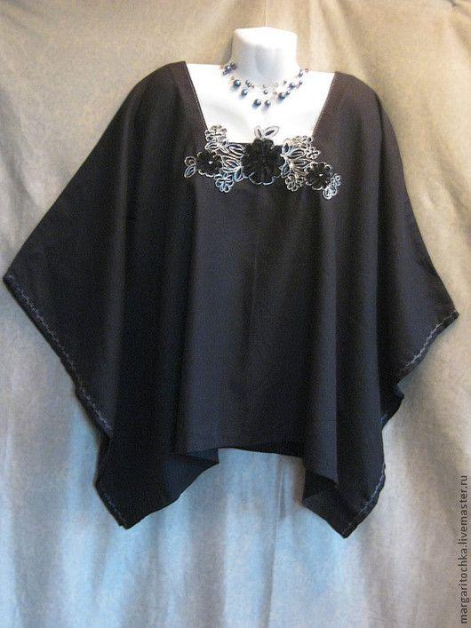 Большие размеры ручной работы. Ярмарка Мастеров - ручная работа. Купить Маленькая черная блузка. Handmade. Авторская одежда