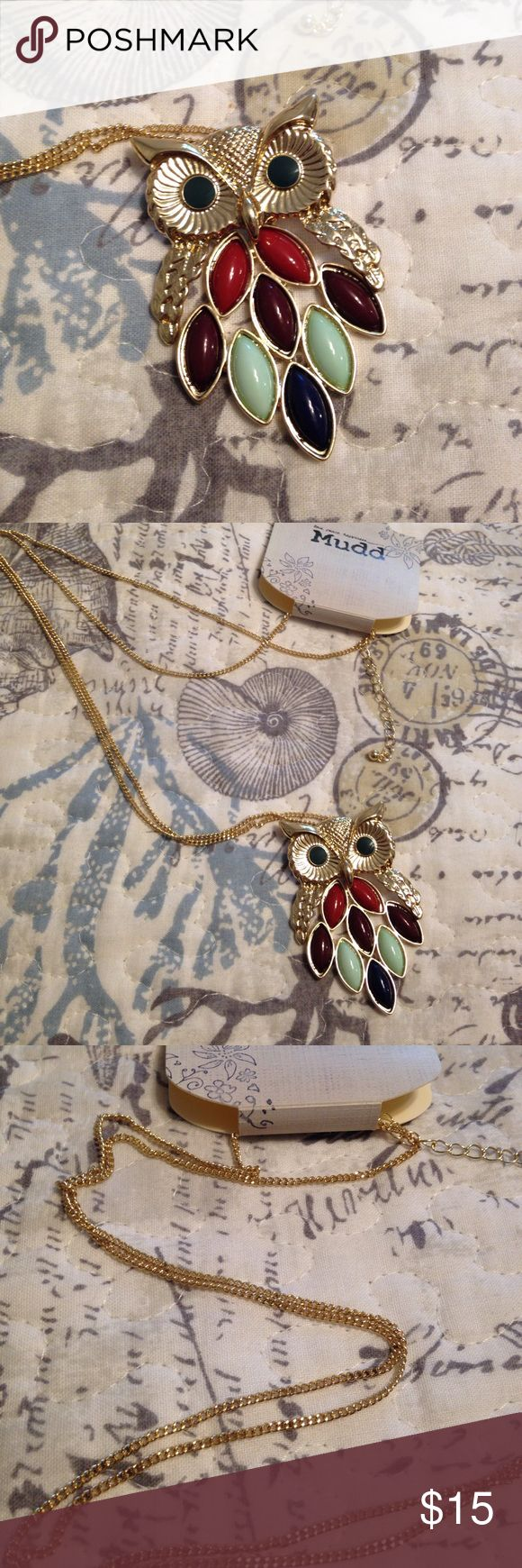 "Listing! NWT Adorable Owl Necklace Owl has a multi-colored body set in gold-toned metal.  Owl measures approximately 1 3/4"" x 2 1/2"" and features a 33"" adjustable gold chain.  Whimsical and cute! Mudd Jewelry Necklaces"