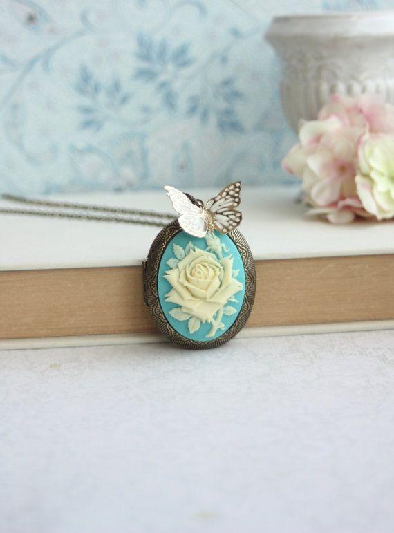 Grande Cameo collana fiore di Rose avorio volare di Marolsha