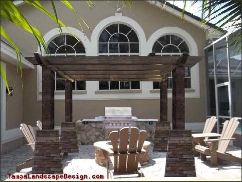 Tampa Landscape Design Contemporary Mediterranean Large Beam Pergola Firepit Outdoor Kitchen