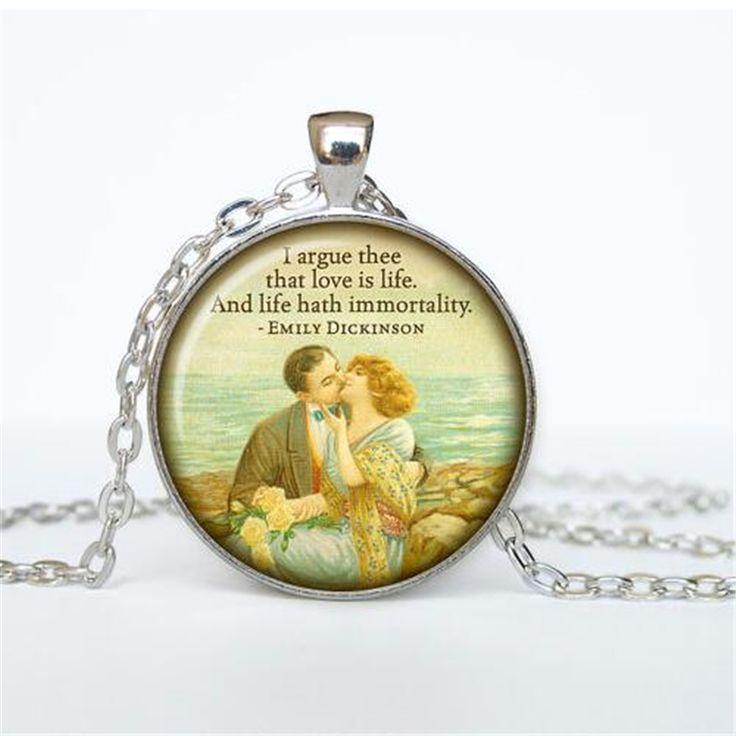 Эмили дикинсон стихи ожерелье котировки кулон викторианской англии ювелирные изделия мода 27 мм круглый кулон панк колье ожерелье купить на AliExpress