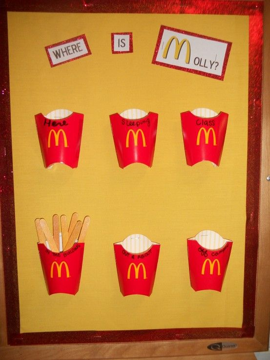 Where I am? Board. I got the kids meal french fry containers (which are adorable!) and painted craft sticks yellow and glued then together. It turned out great!