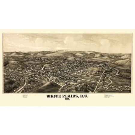 Vintage Map of White Plains New York 1887 Westchester County Canvas Art - (18 x 24)