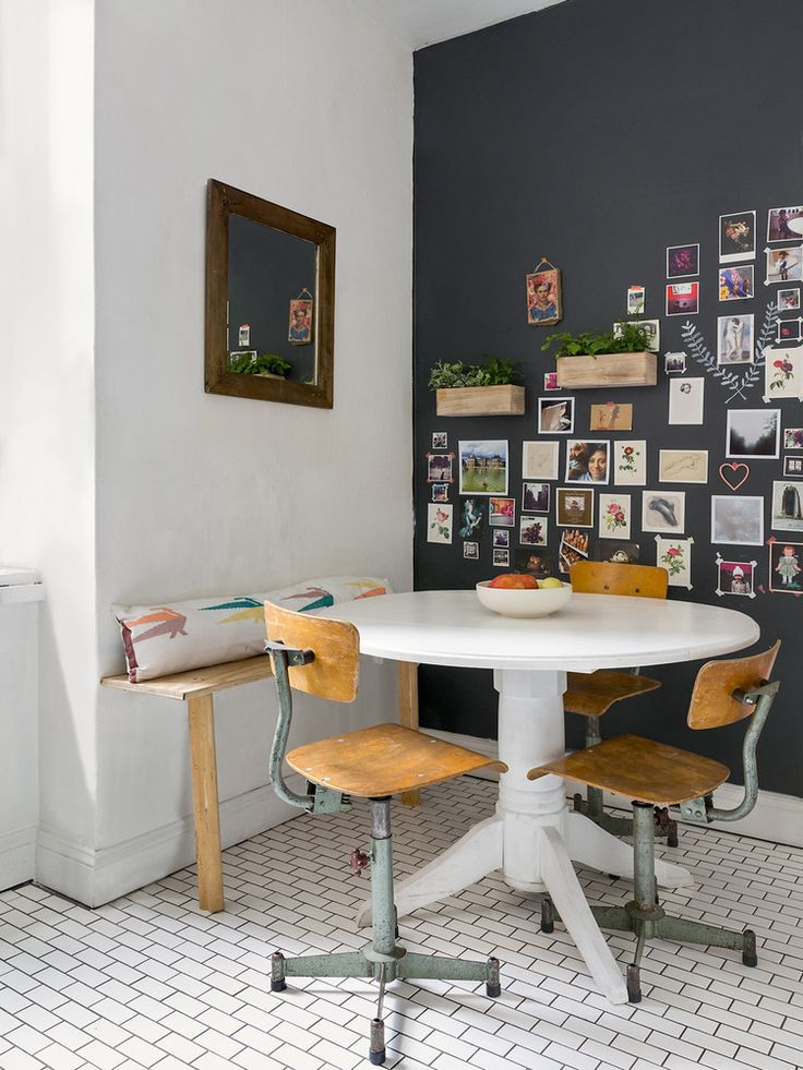 Breakfast nook with gallery wall