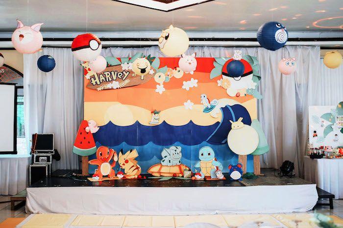 Pokemon backdrop + stage from a Pokemon Beach Birthday Party on Kara's Party Ideas | KarasPartyIdeas.com (4)