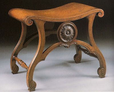 George III mahogany stool, circa 1765, attributed to Thomas Chippendale. (Account books from Christ Church Library, Oxford University, record an order for virtually identical stools supplied by Thomas Chippendale on July 21, 1764).