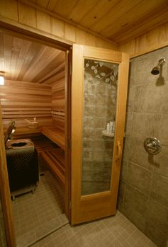 sauna with shower!