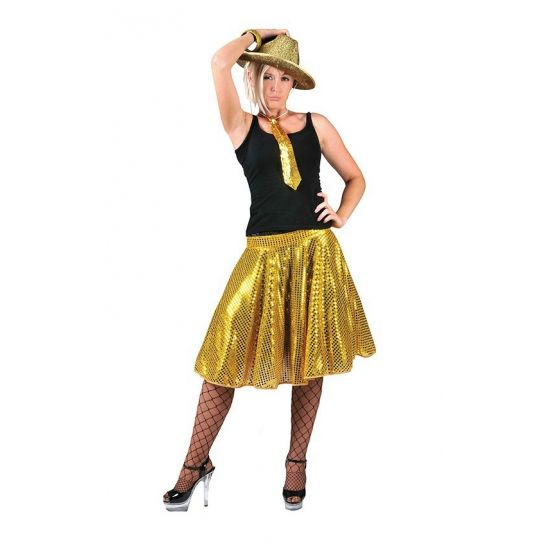 Gouden pailletten rok voor dames. Deze knierok is gemaakt van polyester. De rok is een one size fits all, ca. maat M.