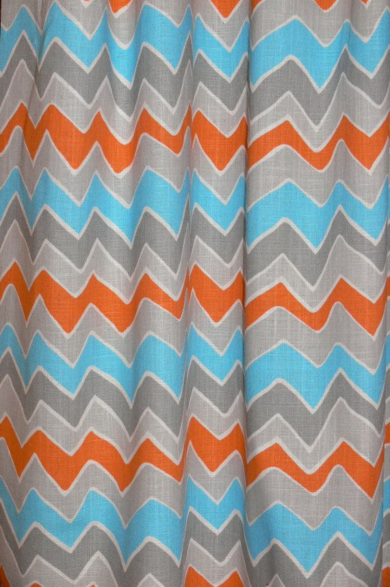 orange and gray curtains - photo #12