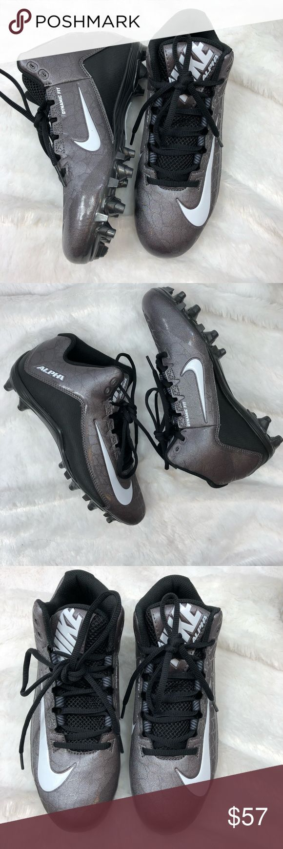 NIKE ALPHA STRIKE FOOTBALL CLEATS SZ 6.5 NEW NIKE ALPHA STRIKE 2 3/4 TD METALLIC GRAY FOOTBALL SHOES CLEATS New Without Tags! Men's SZ 6.5 •Fly around on the field and make game-changing plays in this performance football cleat from Nike. •Synthetic leather provides comfort and durability, dual-pull fit system enables outstanding dynamic lockdown, & 3/4 length wedge Phylon midsole offers midfoot cushioning and support. •TPU plate for lightweight strength and twelve-stud cleat system…