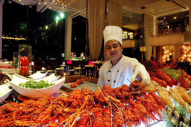 The awesome all you can eat Lobster Buffet at Diamond Hotel's Corniche, Manila, Philippines. Every Friday, prepared any way you want. All you can eat.