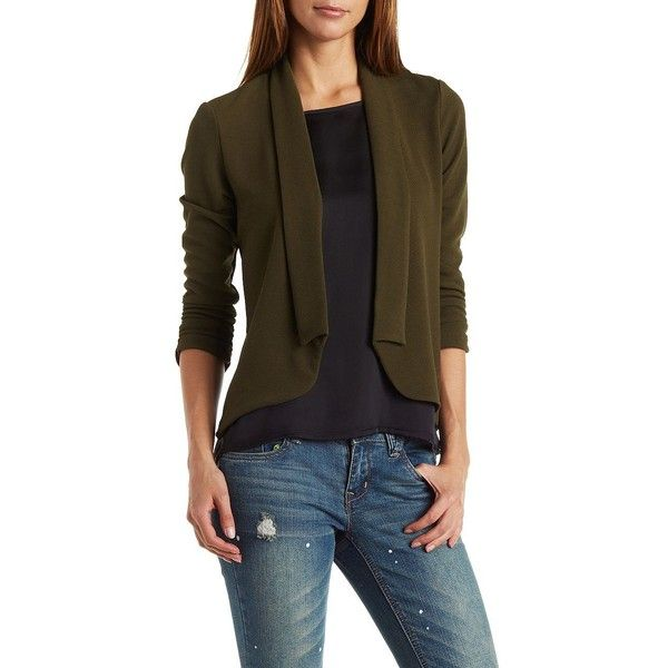 Charlotte Russe Shawl Lapel Textured Blazer ($33) ❤ liked on Polyvore featuring outerwear, jackets, blazers, olive, green military jacket, 3/4 sleeve blazer, olive blazer, olive green blazer and olive jacket