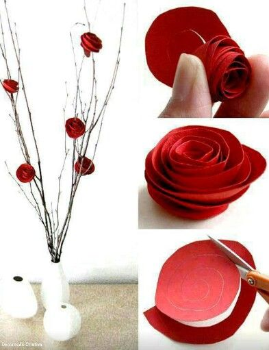 Lindo florero con cartulina roja.