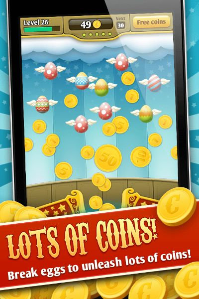 If you like coin games like coin dozers, you'll enjoy this even more! The newest addictive and fun coin shooter game on mobile has arrived! Relax your mind, put your stresses aside, sit back and relax, with COINS vs EGGS!