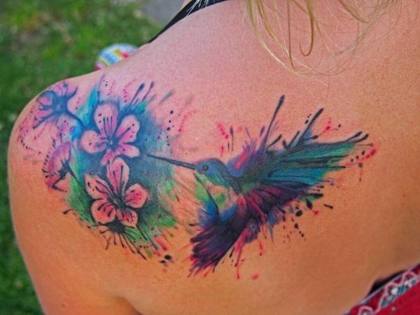 Hummingbird Flower Tattoos: Splatter Hummingbird Tattoo