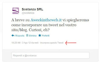 Come inserire un tweet in un post o in un sito (embedded tweets) #howto #smm #twitter  http://www.aweekintheweb.it/2012/08/come-inserire-un-tweet-in-un-post.html
