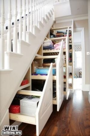 clever storage under stairs, cool!