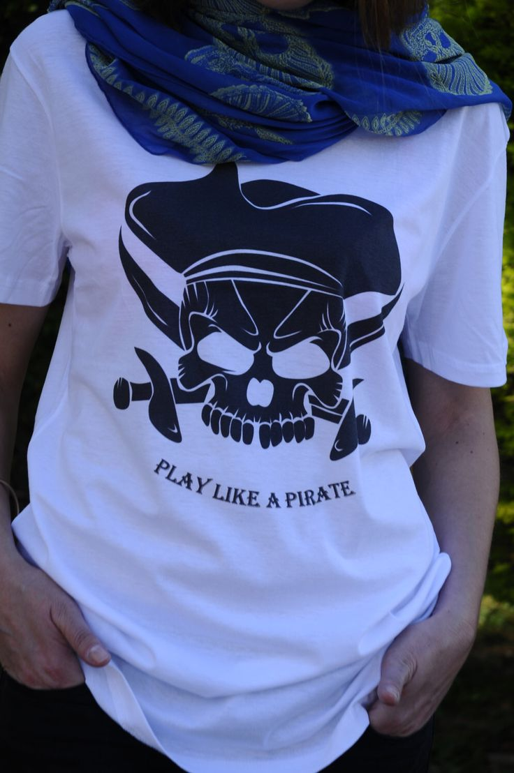 A personal favourite from my Etsy shop https://www.etsy.com/listing/275758446/play-like-a-pirate-t-shirt