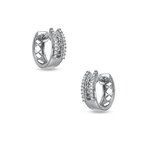 1 4 Ct T W Diamond Huggie Earrings In 10k White Gold Diamond Huggie Earrings Huggies Earrings White Gold Diamond Earrings