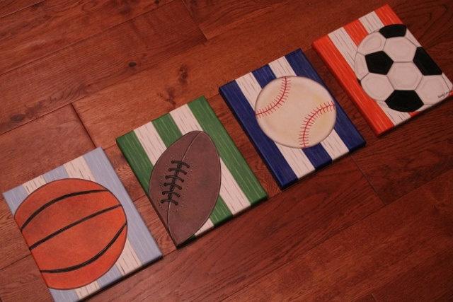 "8"" x 10"" Custom Wall Art Sports Baseball Soccer Golf Basketball Football Hockey Canvas Boys Bedding Room Decor"