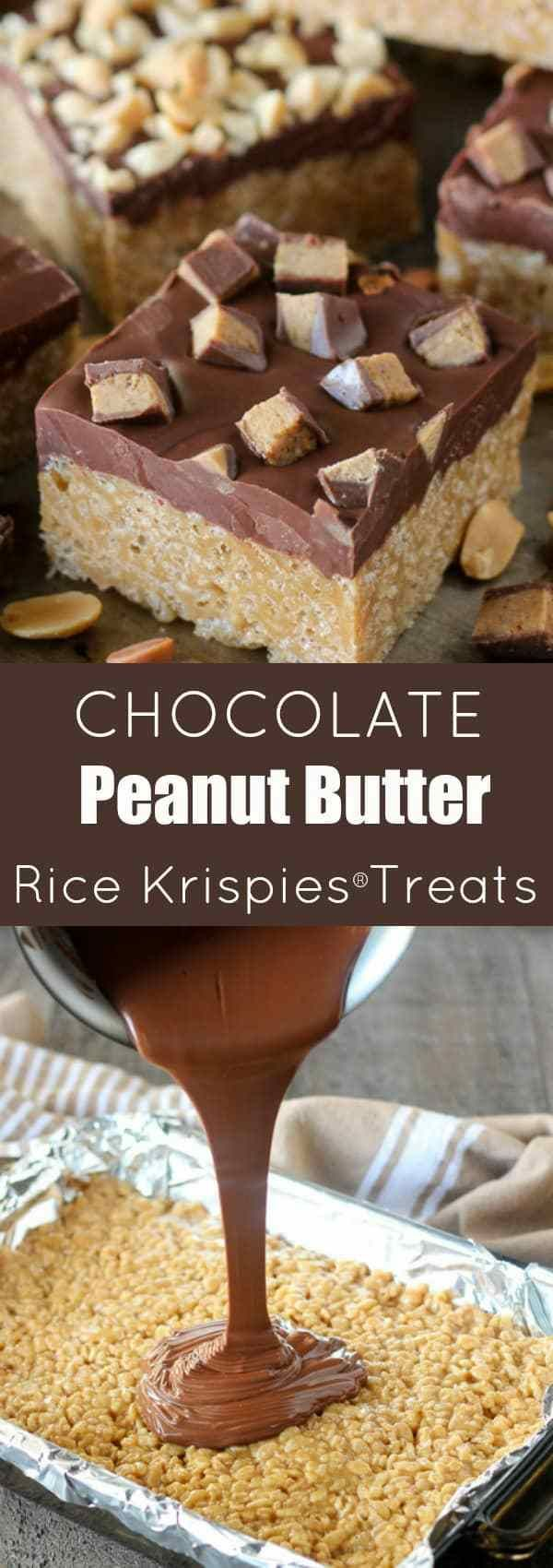Chocolate Peanut Butter Rice Krispies® Treats - Chewy peanut butter Rice Krispies® bars covered with a chocolate-butterscotch topping and finished with chopped peanuts or peanut butter cups. An easy no-bake recipe that is loved by adults and kids alike! #RiceKrispies
