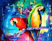 Papagei - Kunstdruck von Original Ölmalerei, abstrakt, Modern Wall Art