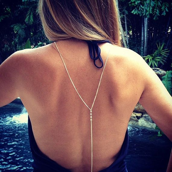 Silver Bikini Crossover necklace body by JRfashionBoutique on Etsy